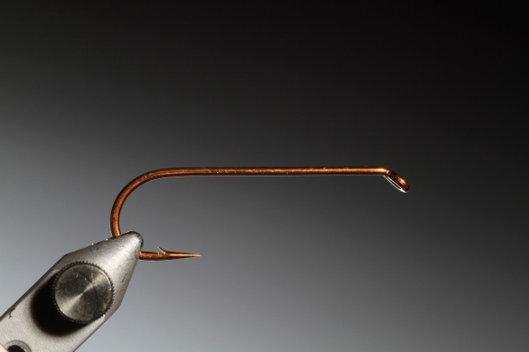 1Secure your Mustad R 74 # 2 hook horizontal in the vice.