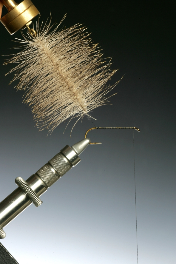 8You can now begin to wind the dubbing onto the hook shank just like a conventional feather hackle, combing the fibres back with each turn.